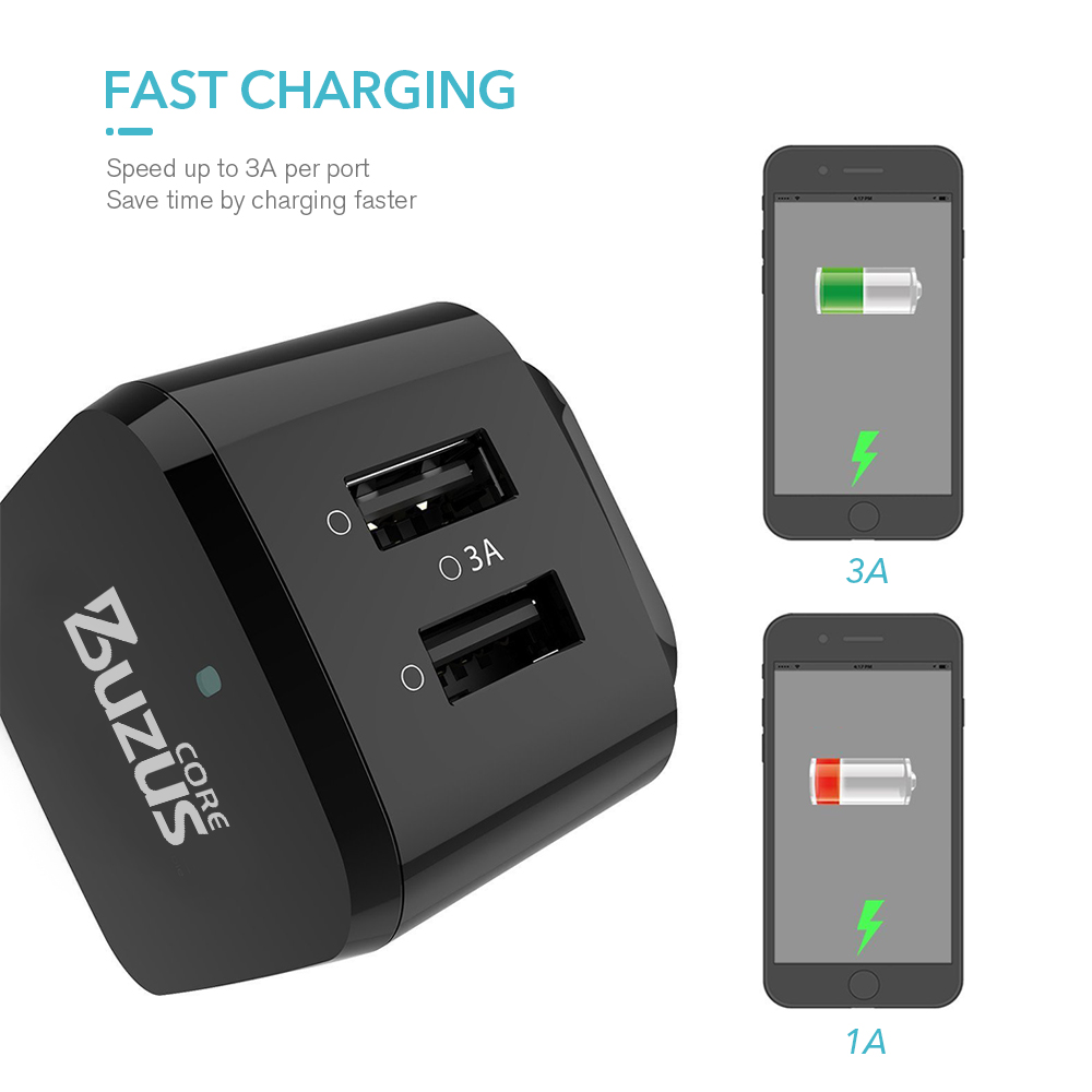 Fast Charging Travel Wall Charger - Buzuscore 31W/6A 2-Port USB Plug Adapter