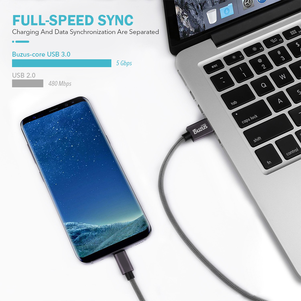 Nylon Micro USB-Type C Cable - Space Gray